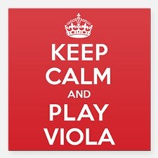 """Keep Calm Play Viola Square Car Magnet 3"""" x 3"""""""