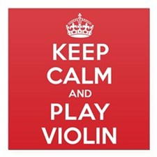 "Keep Calm Play Violin Square Car Magnet 3"" x 3"""