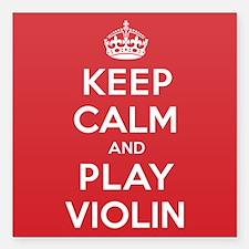 "Keep Calm Play Violin Square Car Magnet 3"" x 3"""