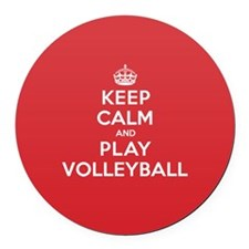 Keep Calm Play Volleyball Round Car Magnet
