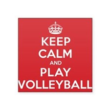 """Keep Calm Play Volleyball Square Sticker 3"""" x 3"""""""