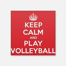 "Keep Calm Play Volleyball Square Sticker 3"" x 3"""