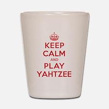 Keep Calm Play Yahtzee Shot Glass