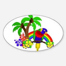 Ring of Fire Parrot Sticker (Oval)