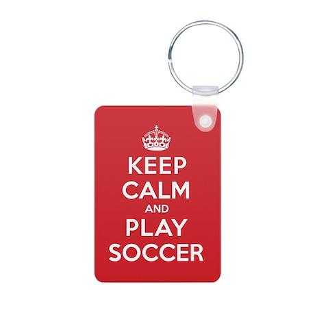 Keep Calm Play Soccer Aluminum Photo Keychain