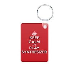 Keep Calm Play Synthesizer Aluminum Photo Keychain