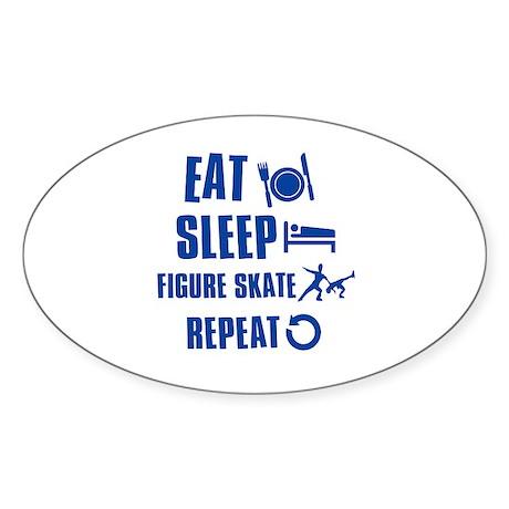 Eat Sleep Figure Skate Sticker (Oval 50 pk)