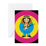 Hippie Rock Star with Guitar Greeting Card