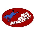 New Jersey Democrat Oval Bumper Sticker
