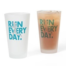 Teal/Silver Run Every Day Drinking Glass
