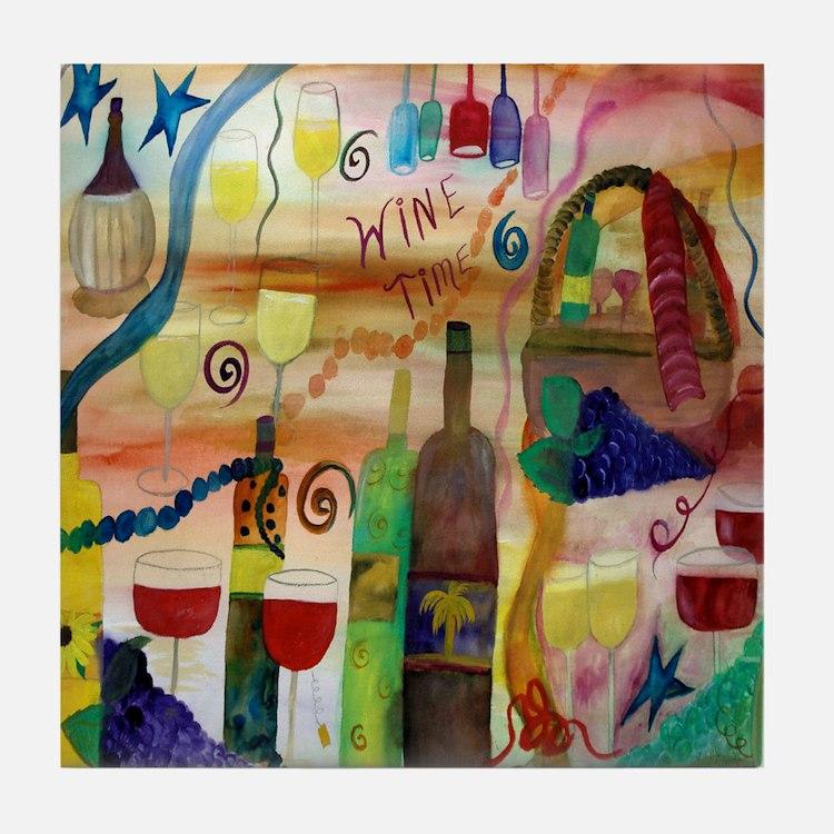 Wine Time Tile Coaster