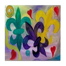 Mardi Gras Fleur de lis Art Tile Coaster