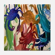 Colorful Crab Party Tile Coaster