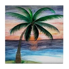 Sunset Palm Tree Art Tile Coaster