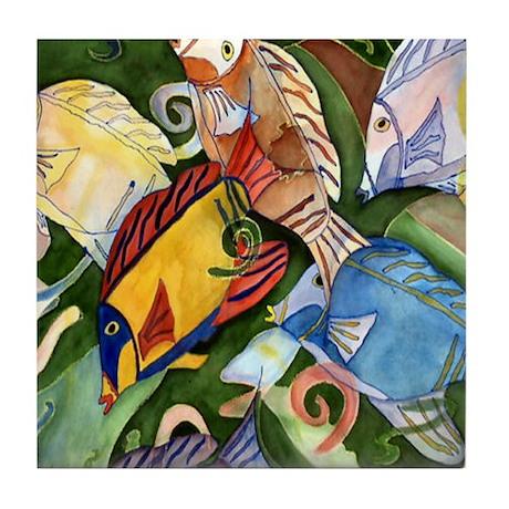 Tropical Fish School Tile Coaster