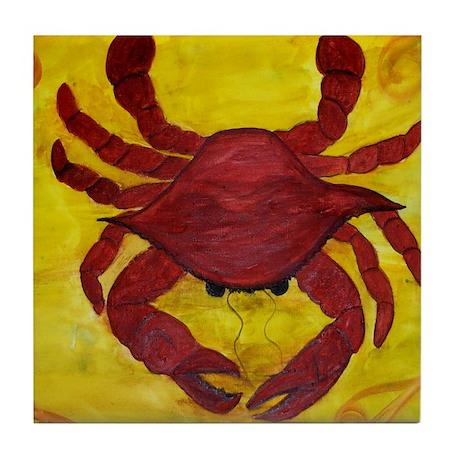 Artzy Red Crab Tile Coaster