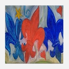 Red and Blue Fleur de lis Tile Coaster