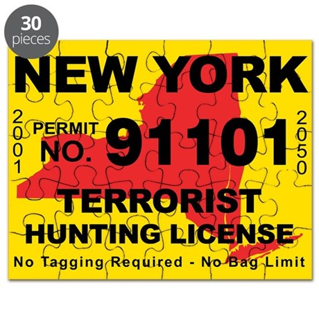 Terrorist hunting license puzzle by cafestickers for Ny fishing license online