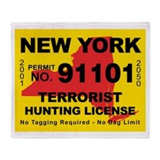 terrorist-hunting-license-NY.png Throw Blanket