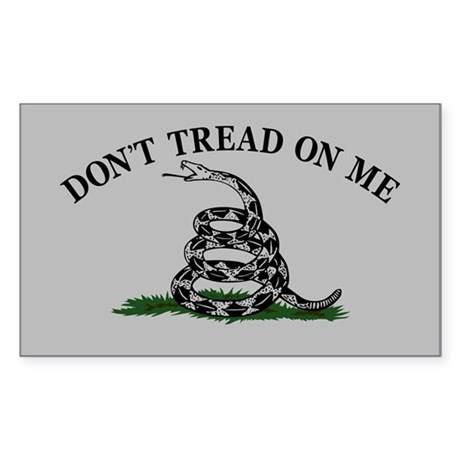 Dont Tread On Me - Grey Sticker (Rectangle)