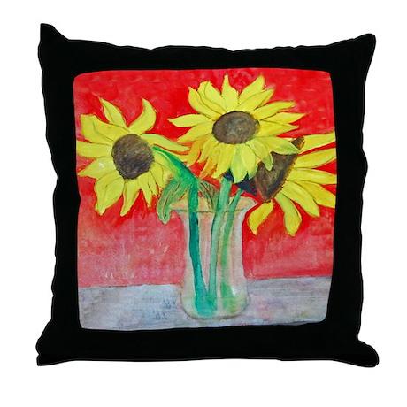 Sunflower Vase Throw Pillow