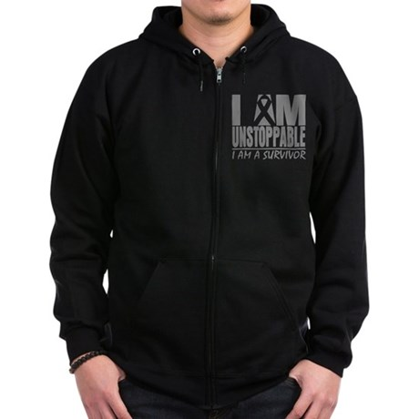 Unstoppable Brain Cancer Zip Hoodie (dark)