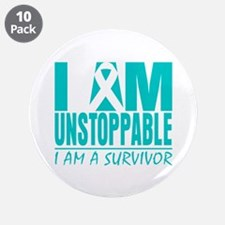 """Unstoppable Cervical Cancer 3.5"""" Button (10 pack)"""