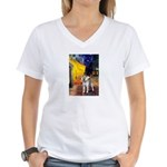 Cafe - Shiba Inu (std) Women's V-Neck T-Shirt