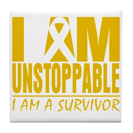 Unstoppable Childhood Cancer Tile Coaster