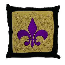 Purple Fleur de lis on gold Throw Pillow
