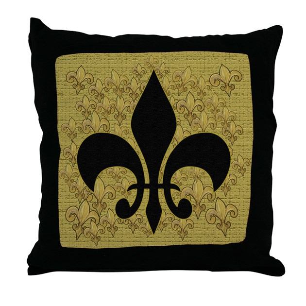 black and gold fleur de lace throw pillow by bythebeach. Black Bedroom Furniture Sets. Home Design Ideas