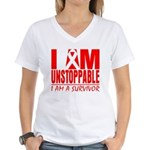 Unstoppable Oral Cancer Women's V-Neck T-Shirt