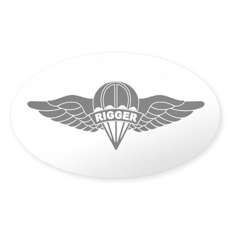 Parachute Rigger B-W Sticker (Oval)