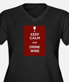 Keep Calm and Drink Wine Women's Plus Size V-Neck