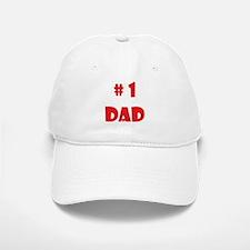 #1Dad (Red) Baseball Baseball Cap