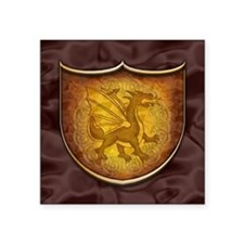 "Copper Dragon Shield Square Sticker 3"" x 3"""