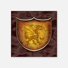 """Copper Dragon Shield Square Sticker 3"""" x 3"""""""