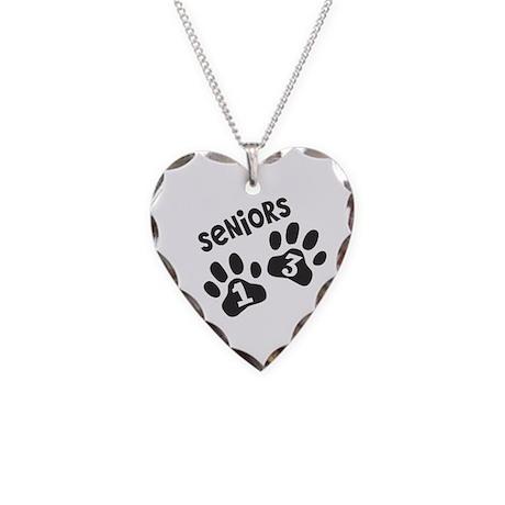 Paw Prints SENIORS 2013 Necklace Heart Charm