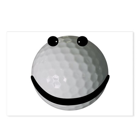 Golf ball smiley Postcards (Package of 8)