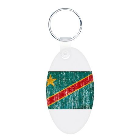 Congo Flag Aluminum Oval Keychain
