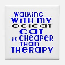 Walking With My Ocicat Tile Coaster