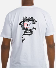Dragon on back - Fitted T Shirt (white)