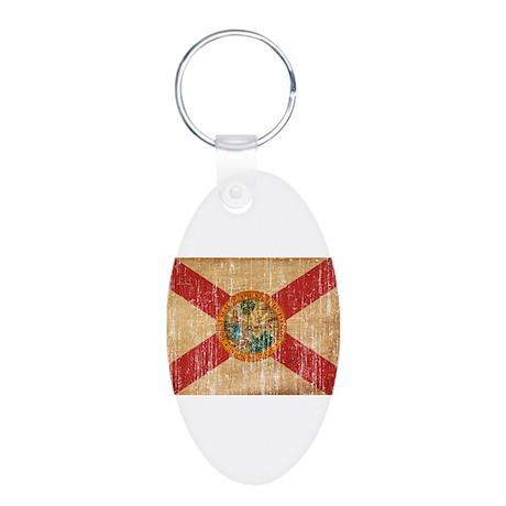 Florida Flag Aluminum Oval Keychain