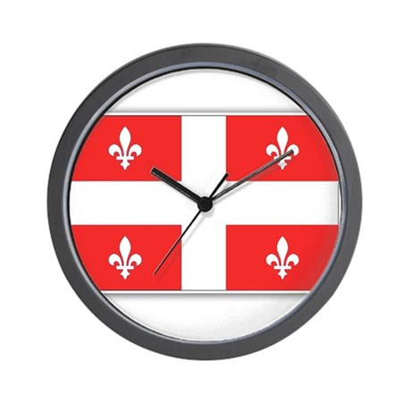 Drapeau Quebec Rouge Wall Clock
