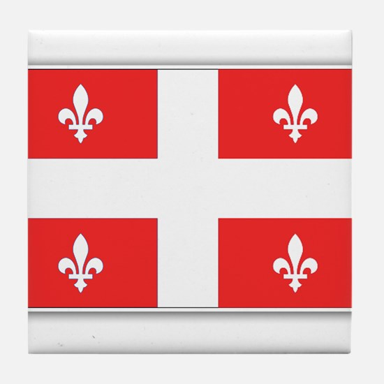 Drapeau Quebec Rouge Tile Coaster