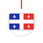 Drapeau Quebec Bleu Rouge Ornament (Round)