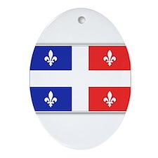 Drapeau Quebec Bleu Rouge Ornament (Oval)