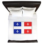 Drapeau Quebec Bleu Rouge King Duvet