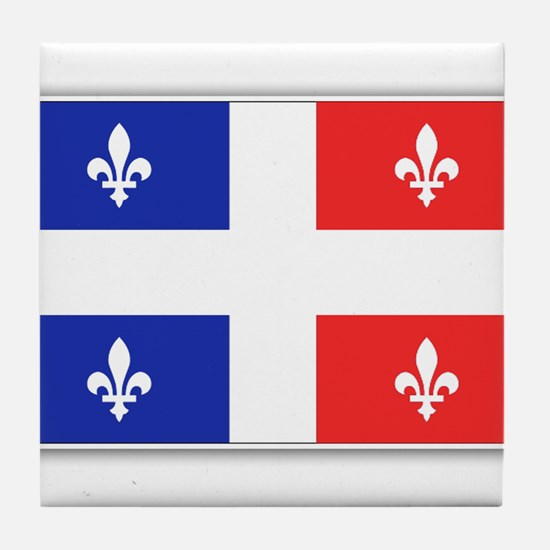 Drapeau Quebec Bleu Rouge Tile Coaster