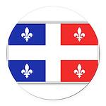 Drapeau Quebec Bleu Rouge Round Car Magnet